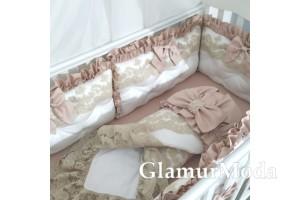 Комплект постельного белья в кроватку для новорожденных, цвет Пудра