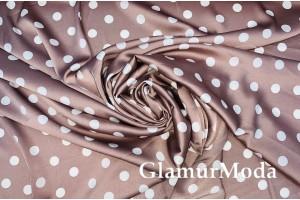 Армани шёлк горох 1,3см на фоне молочный шоколад