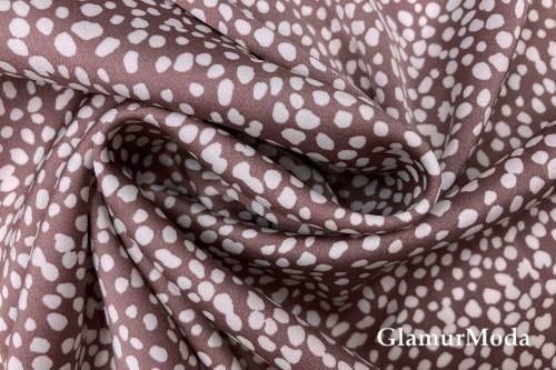 Армани шёлк тепло-коричневый с белыми пятнышками