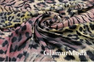 Армани шёлк Леопард с розовыми штрихами, крупный рисунок