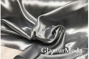 Атлас простой однотонный серо-серебряного цвета