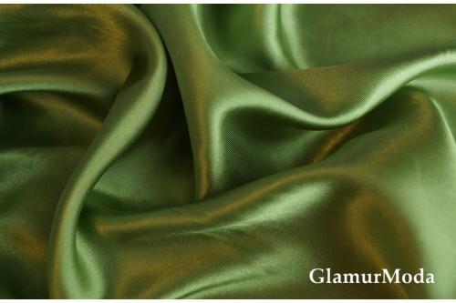 Атлас простой однотонный оливкового цвета