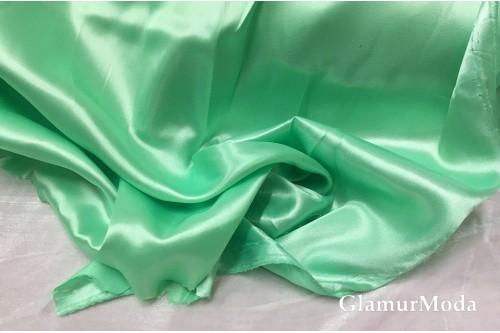 Атлас простой однотонный мятного цвета с зеленым оттенком