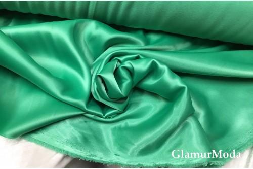 Атлас-стрейч плотный, пыльно-зеленого цвета