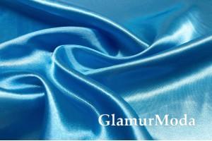 Атлас простой однотонный голубого цвета