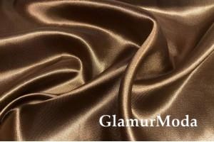 Атлас простой однотонный коричневого шоколадного цвета