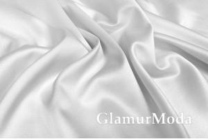 Свадебный сатин с лайкрой (прокатный атлас) белый, арт. 1, Турция