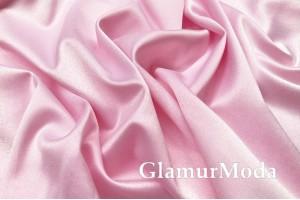 Свадебный сатин с лайкрой (прокатный атлас) нежно-розовый, арт. 12, Турция