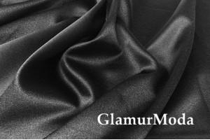 Свадебный сатин с лайкрой (прокатный атлас) черный уголь, арт. 26 Турция