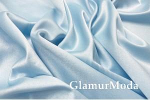 Свадебный сатин с лайкрой (прокатный атлас) небесно-голубой, арт. 8, Турция