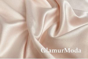 Свадебный сатин с лайкрой (прокатный атлас) нежный персик, арт. 9, Турция