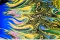 Армани шёлк абстракция разводы желтые на синем