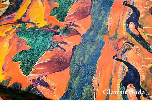Армани шёлк абстракция павлины на оранжевом