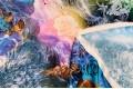 Армани шёлк абстракция салатовые и синие цветы