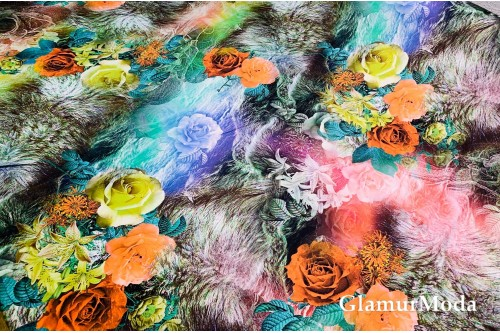 Армани шёлк абстракция оранжевые и желтые цветы