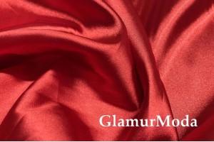 Атлас стрейч ярко-красного цвета