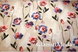 Костюмная Барби цветы на бежевом фоне