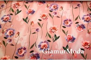 Костюмная Барби цветы на пудровом фоне