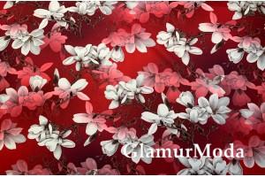 Костюмная Барби бело-красные цветы на бордовом фоне