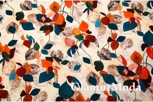 Костюмная Барби разноцветные листья на бежевом фоне