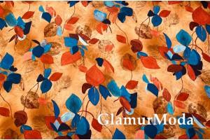 Костюмная Барби разноцветные листья на светло-коричневом фоне