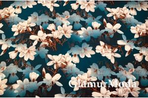 Костюмная Барби бело-голубые цветы на темно-синем фоне