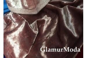Бархат крэш (мрамор) темно-розовый цвет