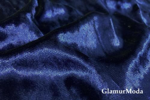 Бархат крэш (мрамор), темно-синий
