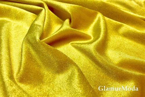 Бархат стрейч ярко-желтого цвета