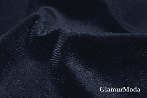 Бархат стрейч темно-синего цвета