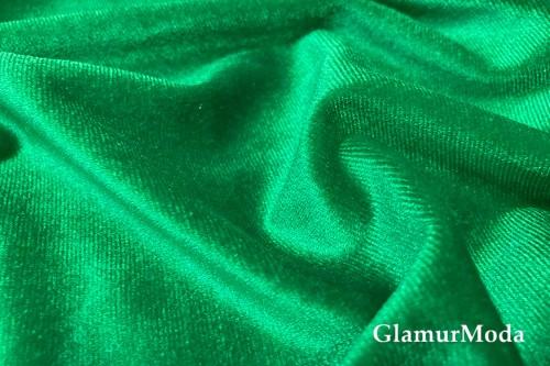 Бархат стрейч зеленого цвета