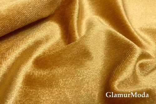 Бархат стрейч золотого цвета