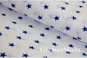 Бязь синие звездочки на белом