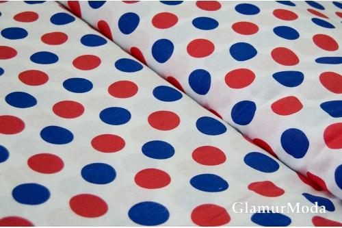 Бязь красные и синие круги на белом