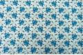 Бязь 220 см, синие цветочки на белом фоне, Турция