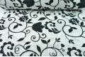Бязь 220 см, черные цветочные узоры на белом фоне, Турция