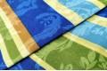 Бязь 220 см, разноцветные полоски с узорами, Турция