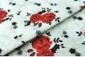 Бязь 220 см, красные цветочки на белом фоне, Турция