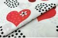 Бязь 220 см, красные сердечки на белом фоне, Турция