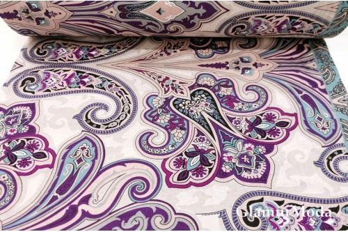 Бязь 220 см, Фиолетовые узоры арт. 8918/6, Турция