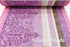 Бязь 220 см, Фиолетовые узоры и полосы арт. 7858, Турция