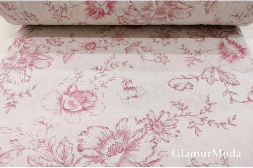 Бязь 220 см, контурные цветы розовые, Турция