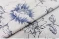 Бязь 220 см, контурные цветы синие, Турция