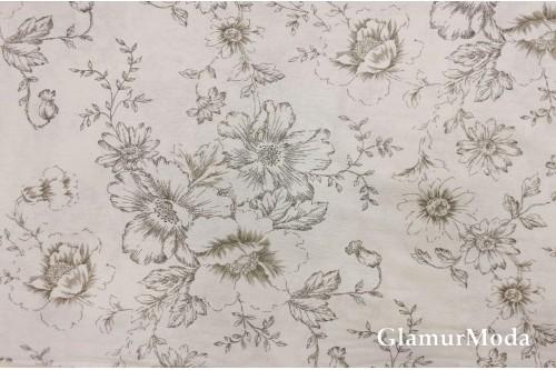 Бязь 220 см, контурные цветы бежевые, Турция