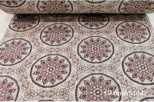 Бязь 220 см, коричневые узоры, Турция