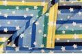Бязь 220 см, звезды на разноцветные полоски (желтый, синий, голубой), Турция