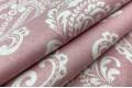 Бязь 220 см, белый Дамаск на нежно-розовом, Турция
