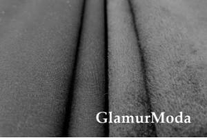 Трикотаж Джерси (Нейлон Рома) на меху, черный цвет 600 гр/м