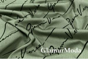Ткань Jagger с флоком, чёрные прописные надписи на фоне хаки PN4070