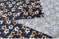 Джинсовая ткань с рисунком кофейные цветы на темно-синем фоне
